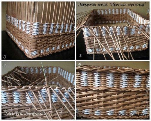 Поделка изделие Плетение Короб для хранения-2 МК ручки и верха Бумага Бумага газетная Бумажные полосы Картон Клей Прищепки фото 4