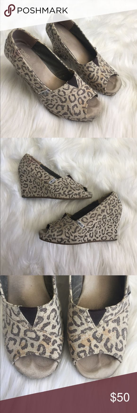 Leopard toms wedges Leopard toms wedges some stains shown in photos TOMS Shoes Wedges