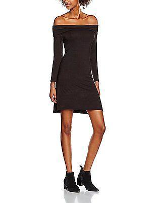 14, Black (Black), New Look Women's Fold Kick Bardot Dress NEW