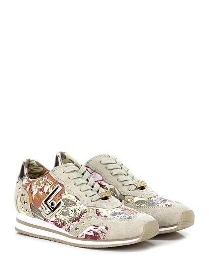 LIU.JO - Sneakers - Donna - Sneaker in camoscio, tessuto ed eco pelle specchiata con strass su passa lacci e borchie su tomaia. Suola in gomma, tacco 55, platform 15 con battuta 40. - BEIGE\MULTICOLOR - € 179.00