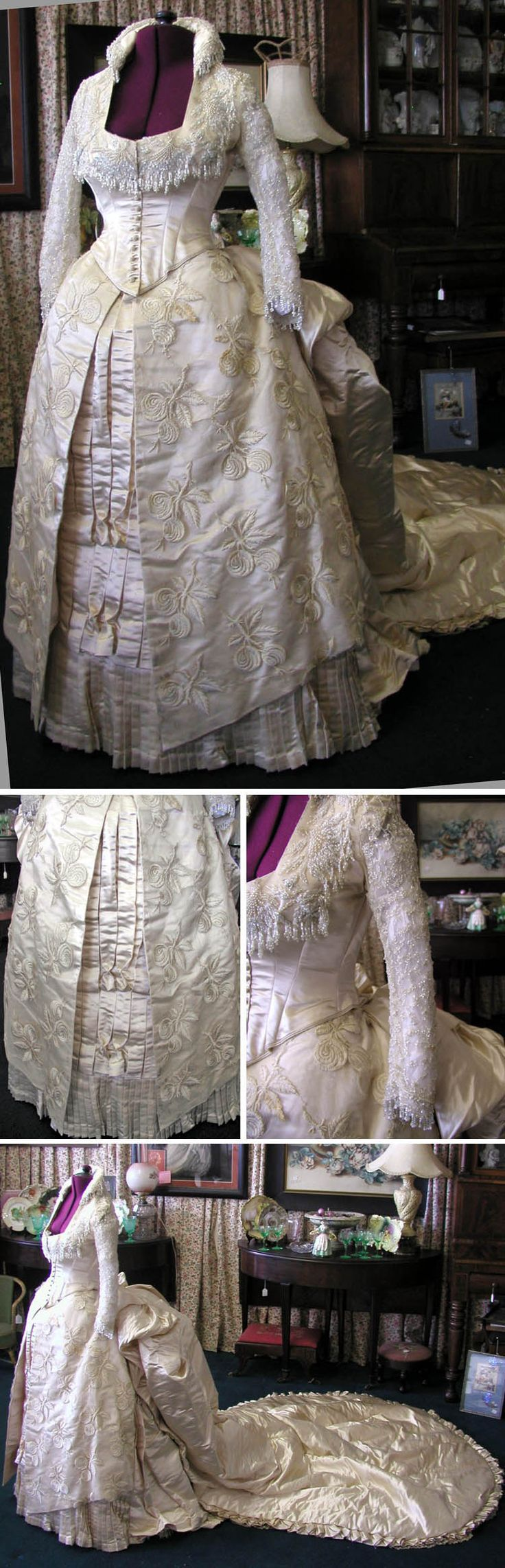 Wedding gown, circa 1880s. Heavy ivory silk with beads. Silk-lined bodice has net sleeves trimmed with cream-colored bugle beads and pearls. Originally in the collection of the Brooklyn Museum. Via svpmeow1/ebay.