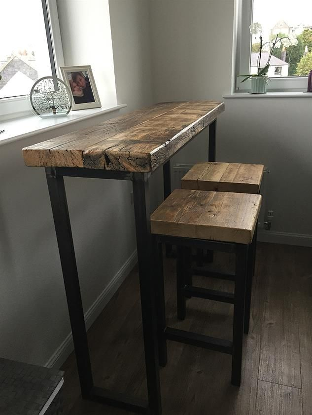Industrial Mill Style Reclaimed Wood Breakfast Bar + Two Stools - www.reclaimedbespoke.co.uk