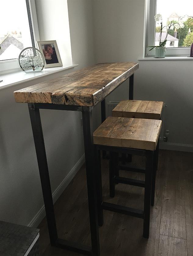 Industrial Mill Style Reclaimed Wood Breakfast Bar + Two Stools - www.reclaimedbespoke.co.uk