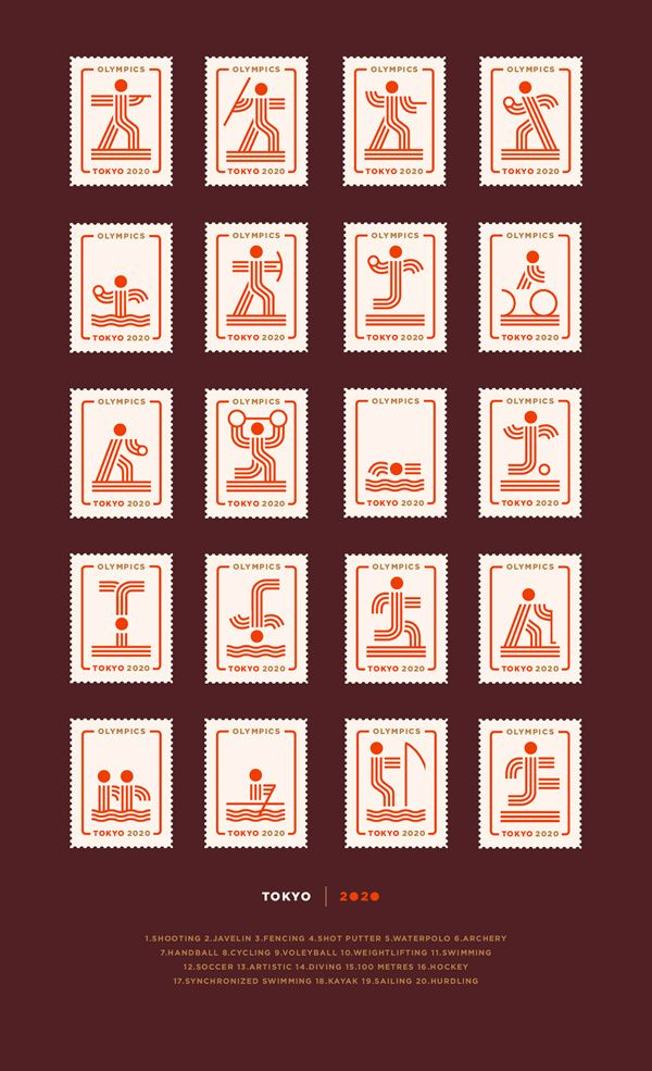 Tokyo 2020 by Martín Azambuja, via Behance: Tokyo a while ago was designated as a city of the Olympics Games in 2020. At that moment it occurred to me as a personal project to imagine how you design the pictograms of these Olympics.  I designed 20 pictograms for now and I'm thinking to print them.