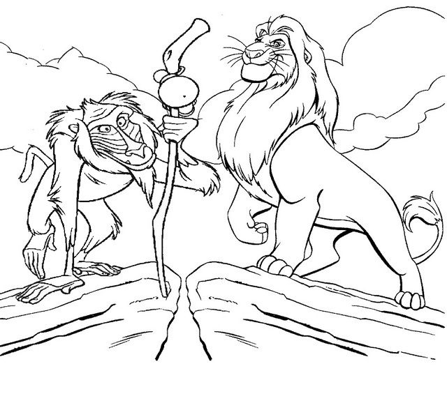 Rafiki And Simba In A Desert Coloring Page