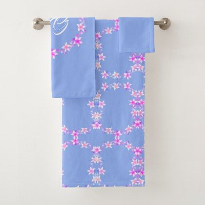 Girly Pink Floral Pattern on Blue Bath Towel Set - floral style flower flowers stylish diy personalize