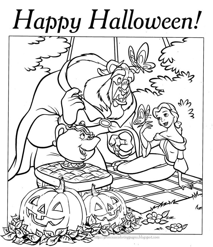 Beauty The Beast Disney Halloween Colouring Sheets