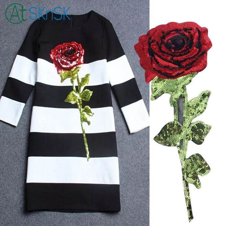 Floral Embroidery Sticker Blossom Long Sew On Cloth Flower Clothing Applique DIY