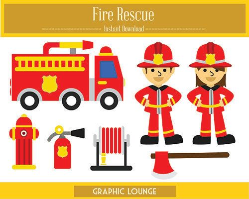 Fire Rescue Clipart. Vector Fire Rescue. Fire Truck. 300 dpi. Eps, Png files. Instant Download.