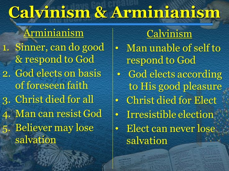 """arminianism and calvinism Arminians claim calvinism hinders evangelism and that election somehow keeps some sinners """"out"""" who would otherwise desire to be saved if the arminian."""