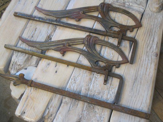 Victorian Antique Swing Arm Curtain Rods Rare Hardwarefree Etsy