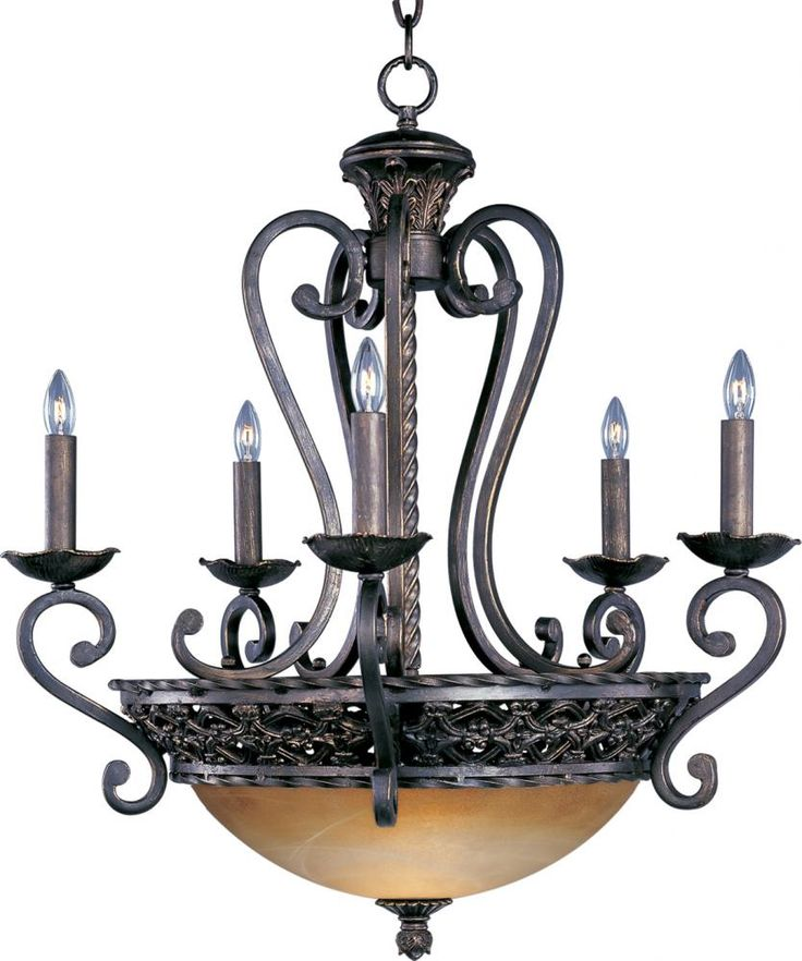 Oil Rubbed Bronze Vintage Amber Glass Up Chandeliers
