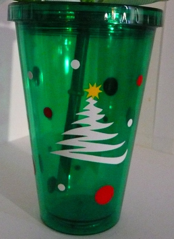 Preppy 16oz Double Insulated Christmas Tumbler With Lid and Straw