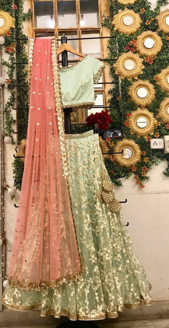 Mint green and blush pink wedding lehenga choli set, Indian wedding wear, bridal lengha blouse
