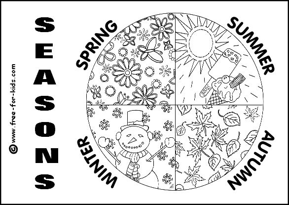 Four seasons coloring page seasons unit pinterest for Seasonal coloring pages