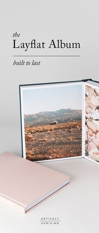 A DIY wedding photo album handcrafted for cover-to-cover awe. The Artifact Uprising Layflat Photo Album is distinguished for its seamless panoramic spreads, premium quality papers and foil-stamped covers. //  Create yours with as few as 10 photos.