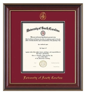 u of south carolina diploma frame satin black wusc seal garnetgold professional framing company - Diploma Frame Size