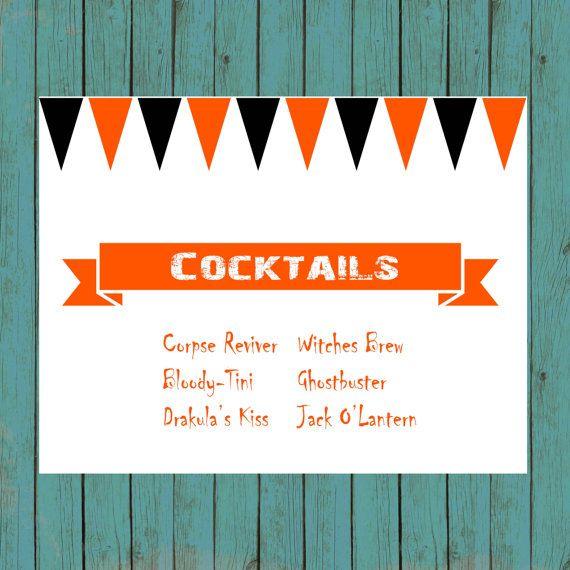 halloween cocktails sign printable
