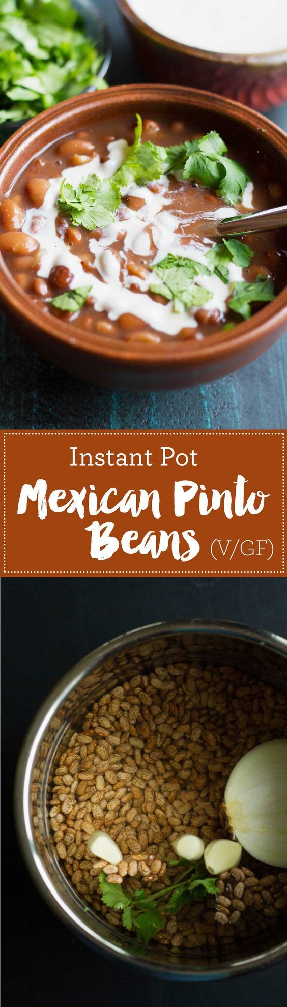 Instant Pot Mexican Pinto Beans (Vegan) | Plant-based | Beans | http://www.eatwithinyourmeans.com/ via @eatwithinmeans
