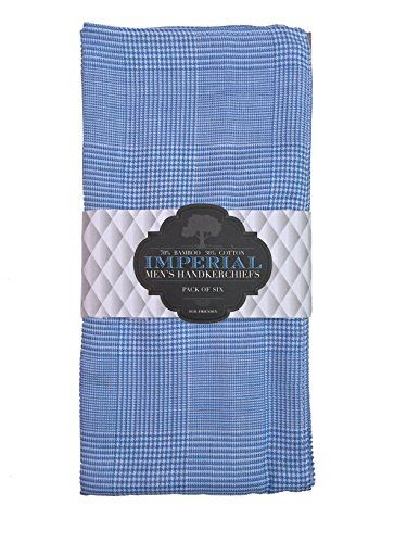 Imperial Bamboo Handkerchief Set- 6 Pack (Blue):   The Bamboo Better Handkerchief Imperial Bamboo Men's Handkerchiefs aren't just your grandpa's hankies. Made with eco-friendly bamboo fibers, these super soft and absorbent handkerchiefs are safe and soothing against your skin. Unlike traditional cotton, silk or linen hankies that can be too rough or too weak, these bamboo hankies are just the right thickness, are hypoallergenic to prevent skin irritation, and only get softer after each...