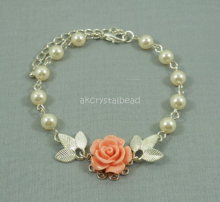 Swarovski cream pearl and salmon pink rose flower cabochon bracelet.  FSM0079