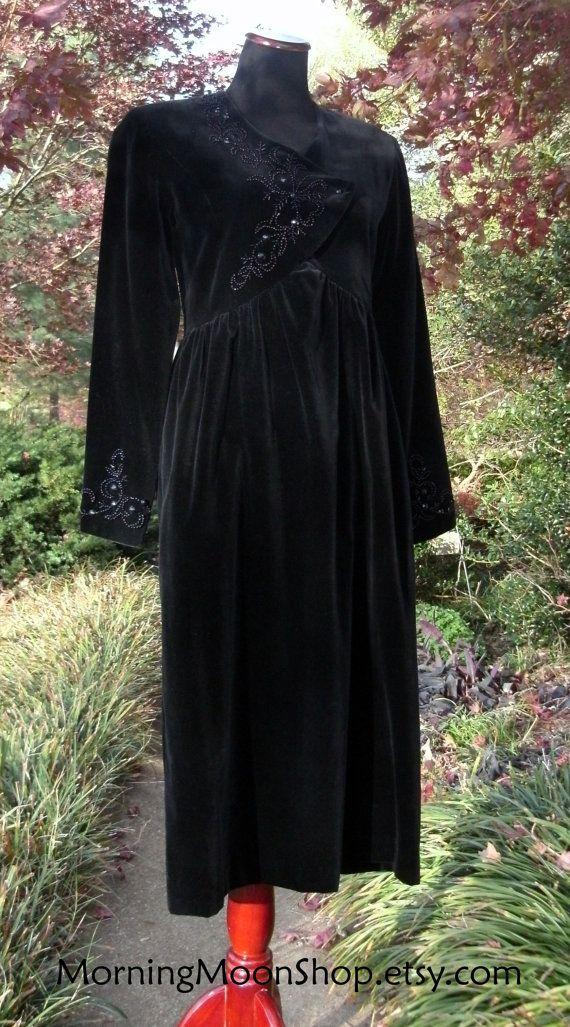 BLACK VELVET DRESS Vintage Laura Ashley Beaded by MorningMoonShop