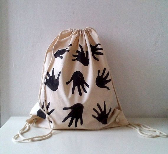 Hands printed Cotton Backpack gemoetric modern by ShebboDesign - hand stamped bag
