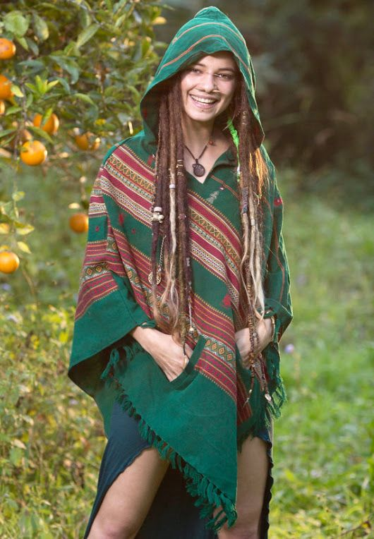 Handmade Green Poncho with Hood Kashmiri Earthy, Tribal Pattern Festival Gypsy AJJAYA Winter Warm Primitive Nomadic Mexican with pockets