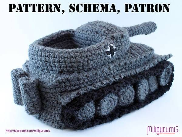 Pattern for crocheted Panzer tank slippers / Boing Boing