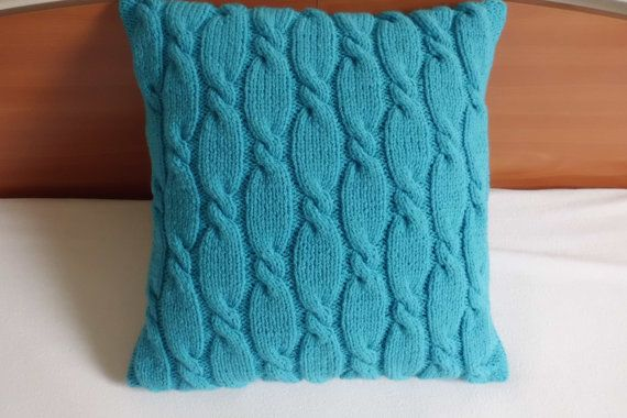 Cable Knit Pillow Case, Knit Throw Pillow, Teal Decorative Pillow, Hand Knit Pillow Cover, 16x16 Turquoise Pillow Case