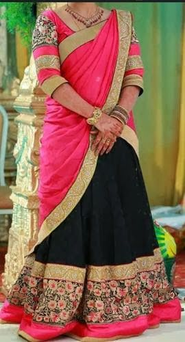 Black Benarasi Thread Work Half Sari | Saree Blouse Patterns