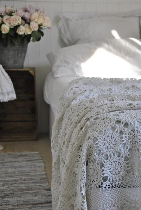white bed, crate bedside