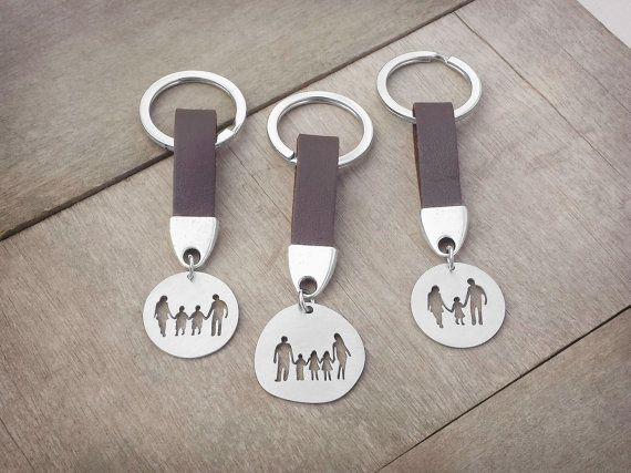 Family Keychain, Family Jewelry, Keyring, Stainless Steel, Mother, Daughter, Son, Father, Kids, Parents, Couple, Silhouette - For Him or Her