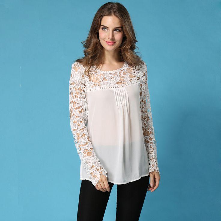 Новинка женщины шифон цветочные блузка кружево вязание вышивка чистой длинным рукавом ти топы рубашка твердые camisetas femininasкупить в магазине Sweet Life^_^наAliExpress