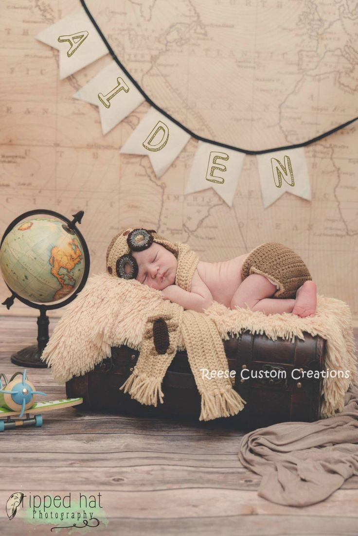 Crochet Newborn Baby Boy or Baby Girl Aviator/Pilot/Airplane Photo Prop Outfit-Great for pictures! Baby Girl pink, Baby Boy Blue, or Neutral by ReeseCustomCreations on Etsy https://www.etsy.com/listing/202329630/crochet-newborn-baby-boy-or-baby-girl
