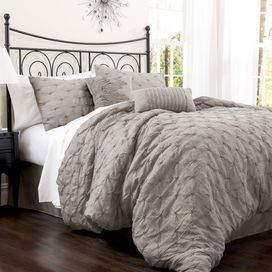Cotton-blend comforter set with an embroidered diamond motif.  Color: Gray