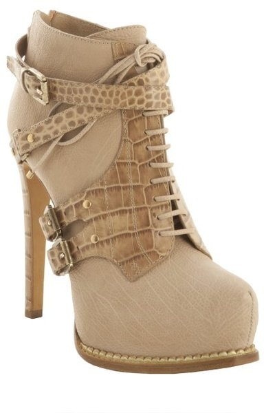 Dior Dune Leather Guetre Croc Print Ankle Booties in Beige (brown)
