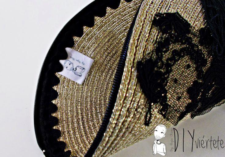 DIY-clutch-cartera-salvamanteles-zarahome-reutilizar-reciclar-bolso fiesta-nochevieja-dorado-encaje-pasamanería-3
