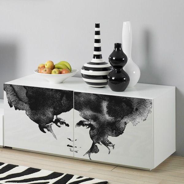 Vinilos muebles Mujer acuarela | adhesivos decorativos armarios, puertas y neveras