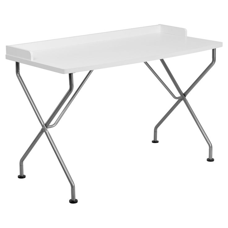 Computer Desk with Frame - White Laminate Top/Silver Frame - Riverstone Furniture Collection
