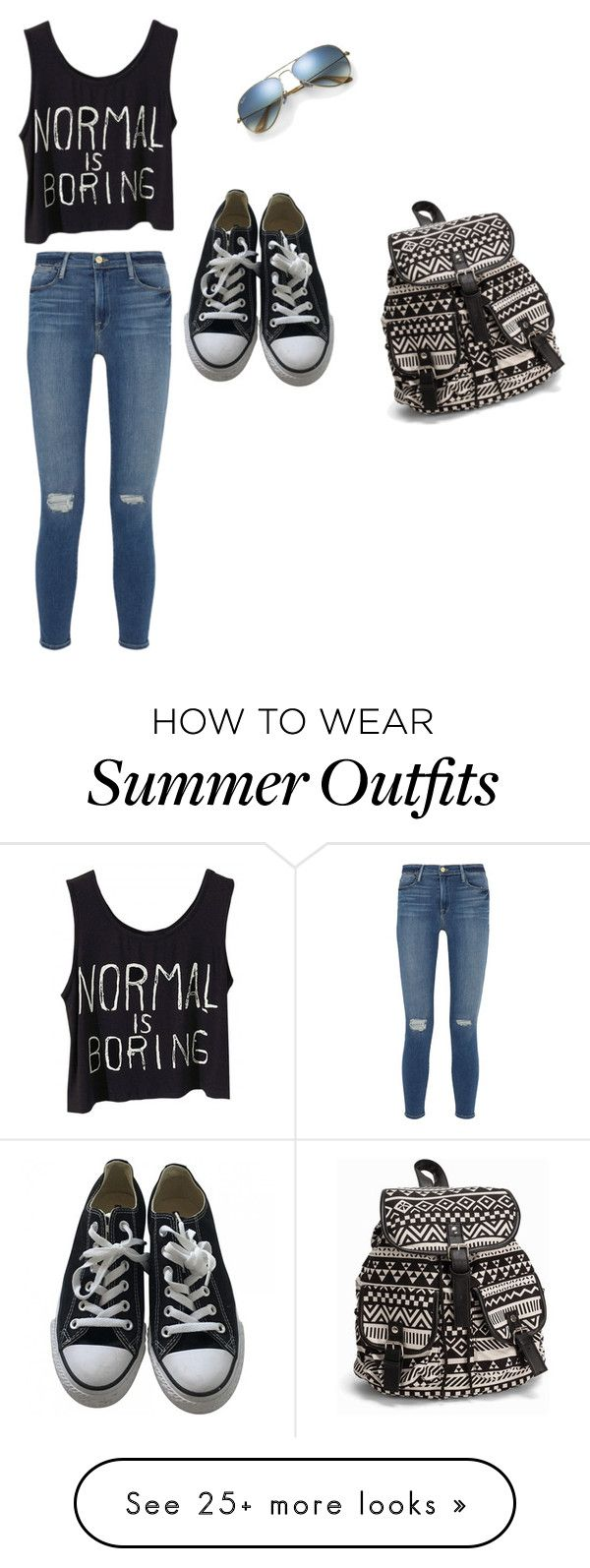 """I would love to have this outfit:)"" by emma-nickerson on Polyvore featuring Frame Denim, Ray-Ban, Converse and NLY Accessories"