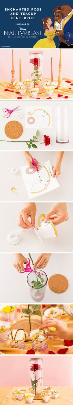 Have a magical Family dinner and a movie night with this Beauty and The Beast DIY centerpiece Materials: — teacup printable — cork circle — plastic rose — scissors — vase — tape