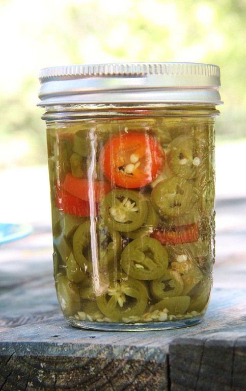 Pickled jalapenos - peppers, white wine vinegar, water, pickling or kosher salt, garlic - hot water bath 10 minutes