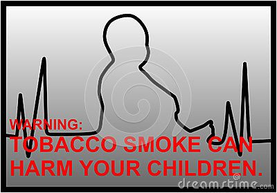 Vector anti-smoking warnings with EKG line and silhouette of a little boy.