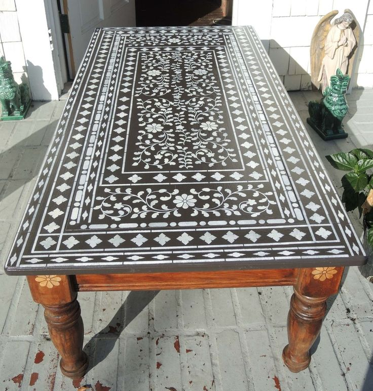 A DIY stenciled table using the Indian Inlay Stencil kit designed by Kim  Myles from Cutting