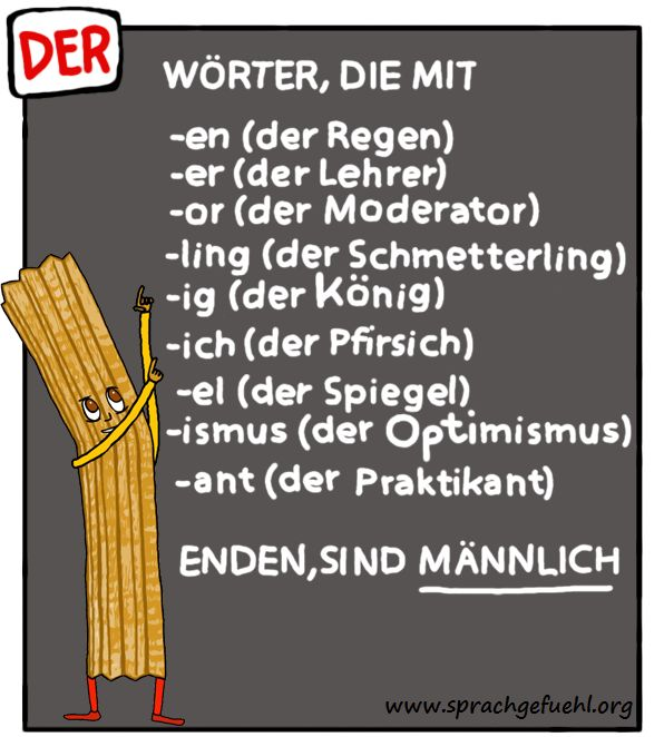 Rule of thumb for 'der.' Masculine articles in German.