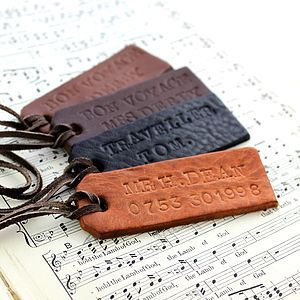 Personalised Handstamped Leather Luggage Tag - personalised