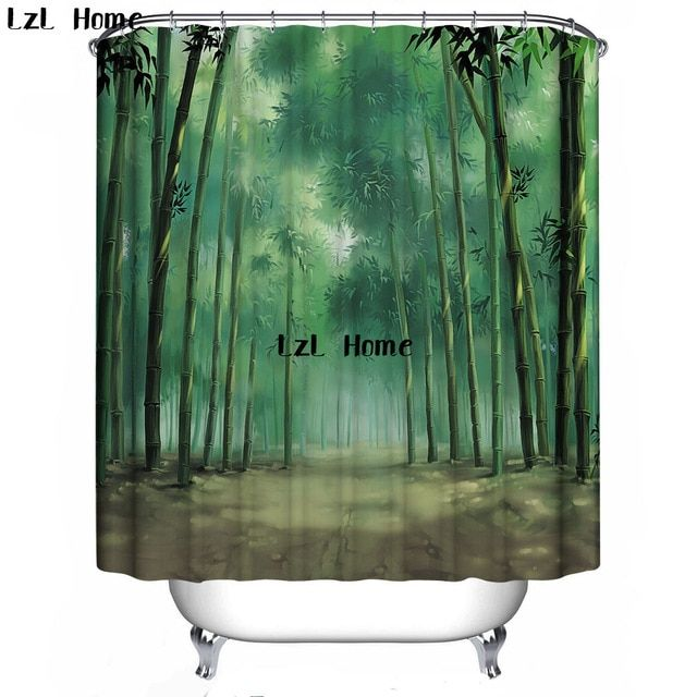 Lzl Home 3d Shower Curtain Nature Scenery Eco Friendly Bath