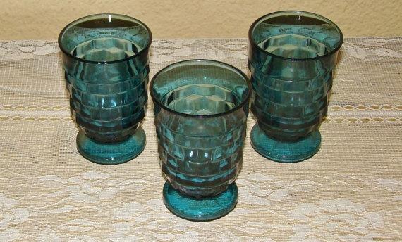 Vintage Blue Fostoria Glassware Set of 3 by TeasetsandFineChina, $6.00