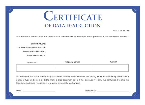 New Free Certificate Of Destruction Template In 2021 Certificate Template Best Templates Certificate Templates